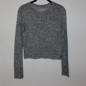 Hollister Marled Gray Cropped Sweater Top
